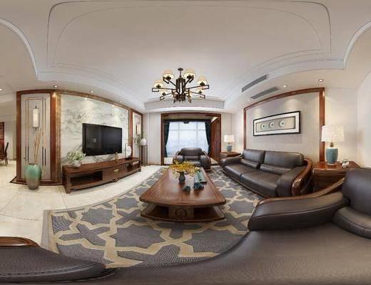 客厅, 餐厅, 新中式客餐厅, 全景图, 沙发组合, 茶几, 电视柜, 摆件组合, 新中式