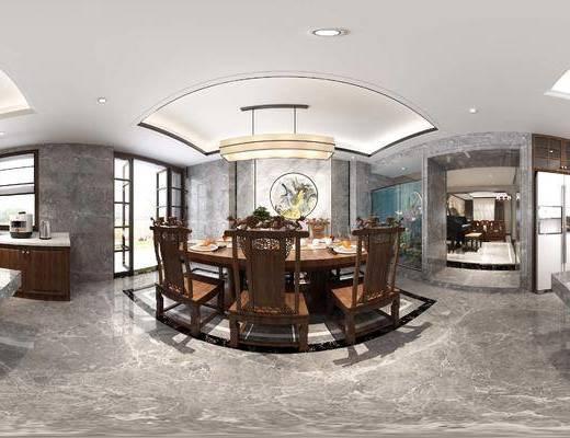 橱柜, 中式, 餐厅, 餐桌椅, 灯具, 摆件, 厨房