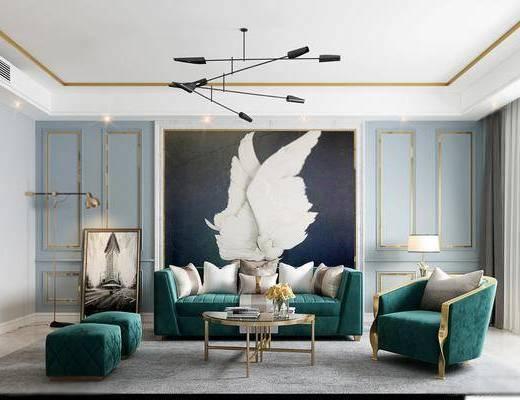 沙发组合, 多人沙发, 茶几, 边几, 台灯, 装饰画, 挂画, 吊灯, 落地灯, 单人沙发, 脚踏沙发, 摆件, 装饰品, 陈设品, 简欧轻奢