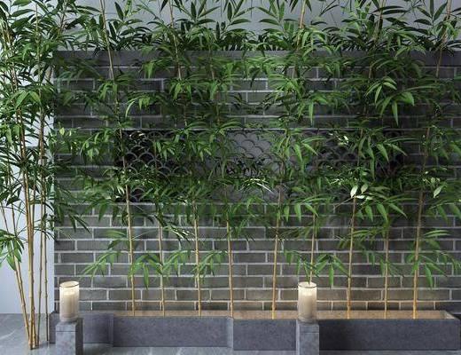 砖墙, 竹子, 户外灯