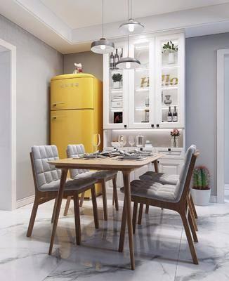 餐厅, 餐桌椅组合, 酒柜组合, 冰箱, 餐具组合, 北欧
