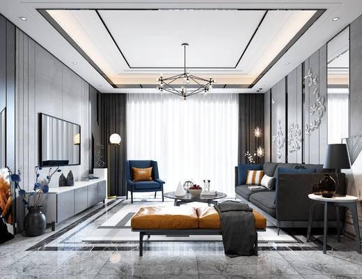现代, 客厅, 电视柜, 沙发组合, 沙发茶几组合, 多人沙发, 吊灯, 墙饰