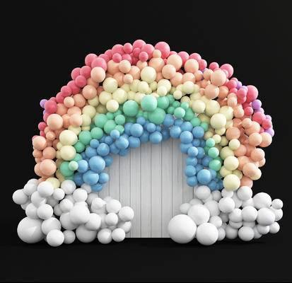 美陈合影区, 背景墙, 彩虹气球拱门