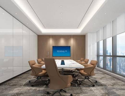 会议室, 办公区, 会议桌, 单人椅, 办公椅, 现代