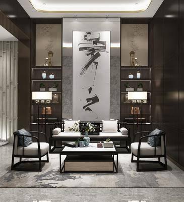 沙发组合, 双人沙发, 茶几, 单人沙发, 落地灯, 装饰柜, 摆件, 装饰品, 陈设品, 装饰画, 挂画, 新中式