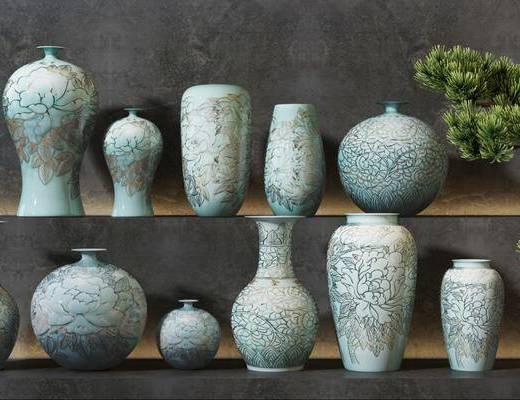 新中式陶瓷器皿, 陶瓷花瓶, 摆件