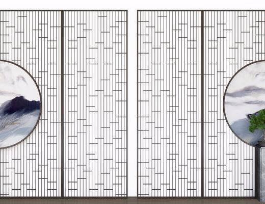 屏风隔断, 隔断组合, 圆框画, 新中式, 隔断