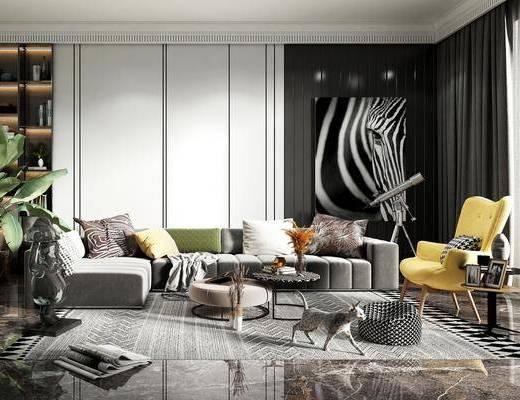 沙发组合, 单椅, 装饰画, 茶几, 摆件组合