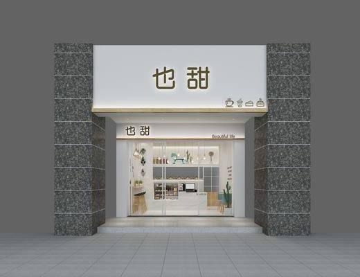 蛋糕店, 门面门头, 饮品店, 甜品店, 奶茶店, 前台, 吧台吧椅, 单人椅, 吊灯组合, 现代