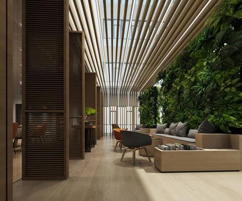 休闲区, 椅子, 绿植, 绿化墙, 茶几, 摆件, 等候区