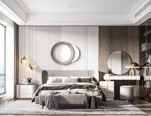 双人床, 床尾踏, 梳妆台, 壁镜, 墙饰, 床头柜, 吊灯, 衣柜