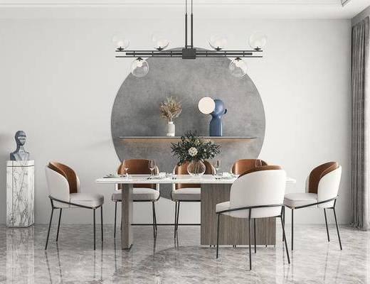 现代餐厅, 餐桌椅, 摆件, 吊灯