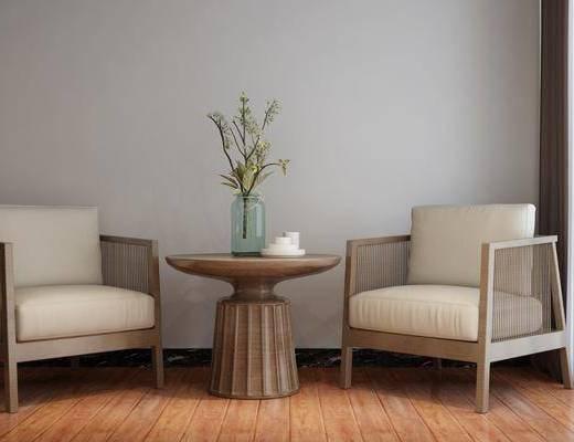 盆栽, 花瓶, 单椅, 茶几, 茶具