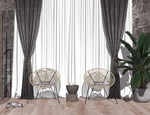 单椅, 休闲椅, 窗帘, 植物, 盆栽