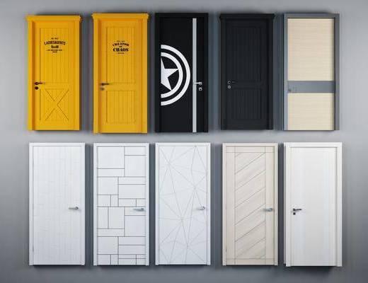 北欧白色实木单开平开房门, 北欧, 门, 平开门