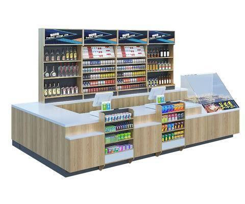 超市, 便利店, 货架, 组合