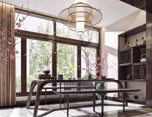 茶室, 茶桌, 吊灯, 凳子, 木板凳, 花卉, 盆栽, 装饰柜, 摆件, 装饰品, 陈设品, 新中式