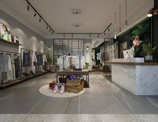 服装店, 现代服装店, 衣架, 衣服, 鞋子, 收银台