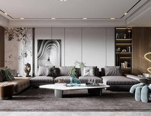 现代, 客厅, 多人沙发, 边几, 装饰画
