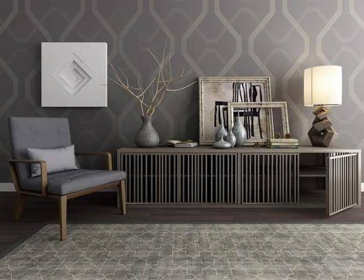 边柜, 装饰柜, 台灯, 单人沙发, 单人椅, 装饰品, 陈设品, 现代