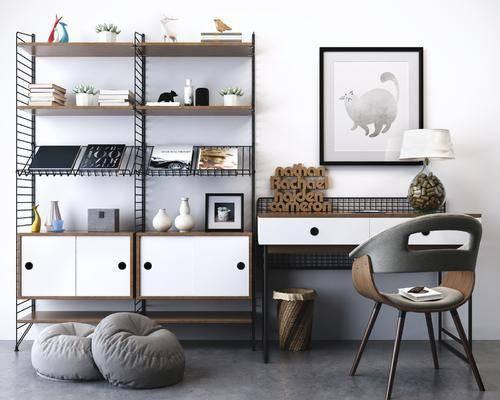 工业风桌椅, 桌椅组合, 书桌椅