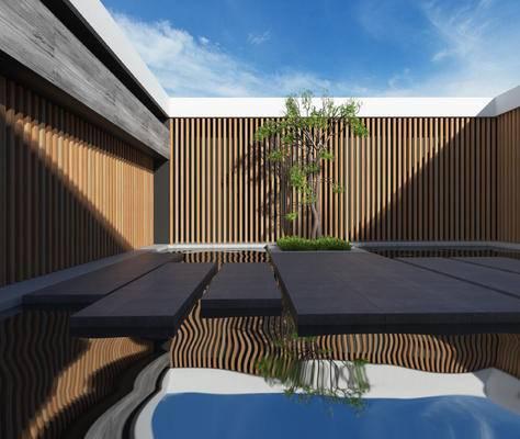 户外建筑, 新中式庭院, 树木, 水池, 石板