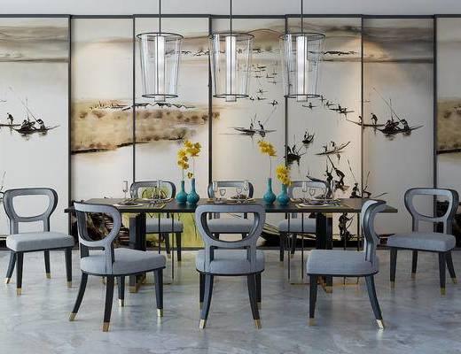 新中式, 餐桌椅组合, 吊灯, 花瓶