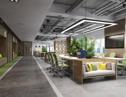 公共办公区, 会议桌, 办公椅, 沙发, 植物, 茶水间, 茶几, 现代, 办公区, 办公室, 沙发组合, 多人沙发, 盆栽