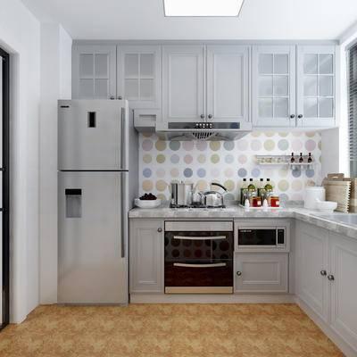 厨房, 现代, 北欧, 橱柜, 厨具