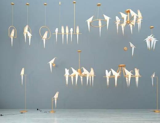 吊灯, 现代吊灯, 千纸鹤吊灯, 纸鹤吊灯, 艺术吊灯, 纸鹤落地灯, 金属吊灯