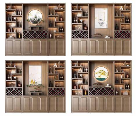 酒柜, 新中式酒柜, 擺件組合