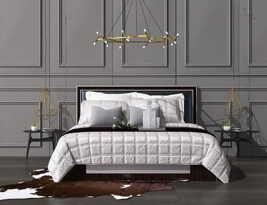 床具组合, 双人床, 床头柜, 吊灯, 摆件, 装饰品, 陈设品, 后现代