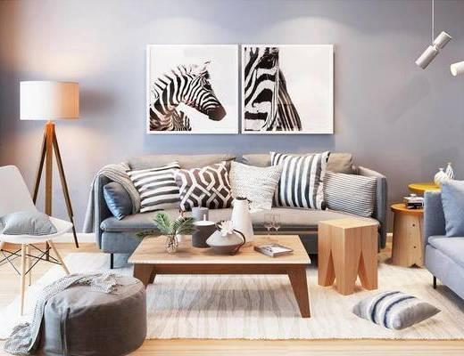 沙发茶几组合, 陈设品组合, 落地灯, 北欧