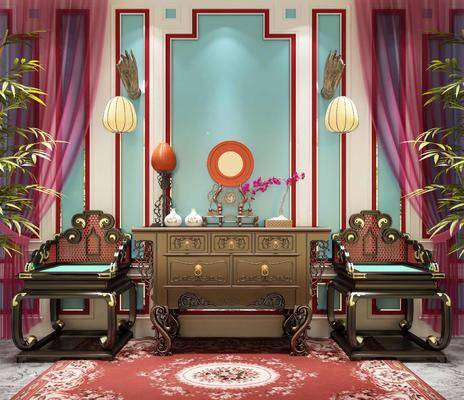 单椅, 中式单椅, 中式边柜, 边柜, 装饰柜, 中式