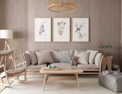 茶几, 落地灯, 挂画, 沙发组合, 植物
