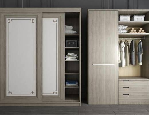 衣柜组合, 整体衣柜, 组合衣柜, 实木衣柜, 服饰, 新中式