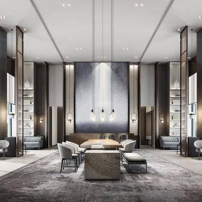 洽谈区, 会客厅, 沙发组合, 沙发茶几组合, 吊灯, 下得乐3888套模型合辑