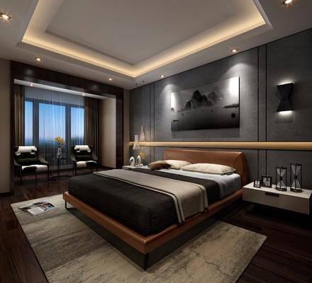 卧室, 床头柜, 双人床, 装饰画, 挂画, 单人沙发, 壁灯, 工业风