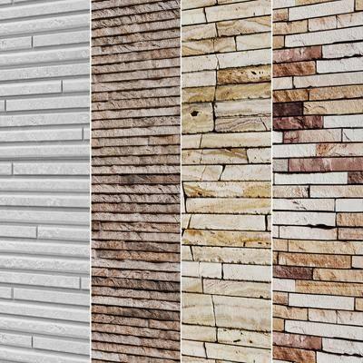 砖, 文化石材, 装饰墙, 墙面组合, 现代