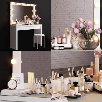 梳妆台, 妆镜, 化妆品, 花卉, 书籍, 妆凳, 现代梳妆台化妆品摆件组合