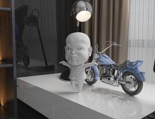 饰品摆件, 人物玩偶, 摩托车, 现代