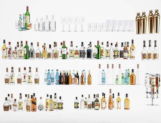 白酒红酒, 洋酒酒瓶, 酒杯组合, 现代