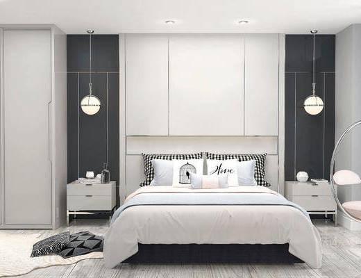 現代臥室, 雙人床, 床頭柜, 吊燈