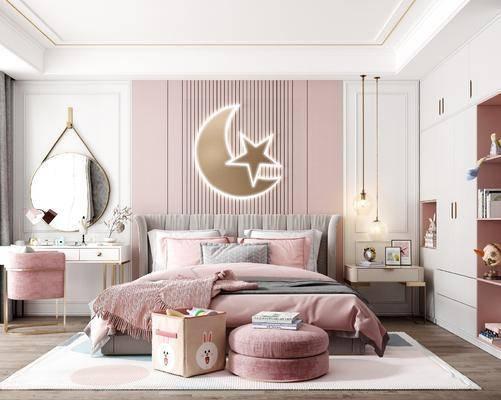 单人床, 墙饰, 壁镜, 梳妆台, 吊灯, 衣柜, 床头柜