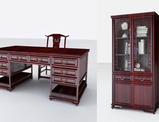 红木书柜, 书柜, 单人椅, 装饰柜, 中式