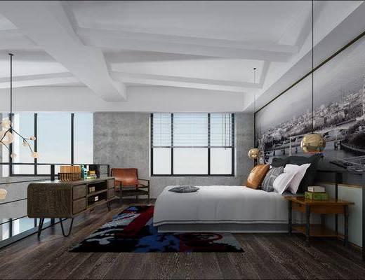 工业风公寓卧室, 工业风, 卧室, 床, 电视柜, 现代吊灯