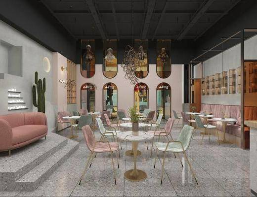 北欧, 奶茶店, 桌子, 椅子, 双人沙发, 沙发, 吊灯