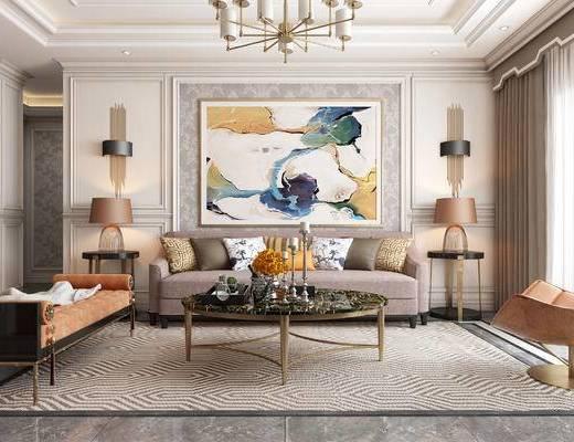 简欧客厅, 客厅, 沙发组合, 装饰画, 沙发茶几组合, 简欧沙发, 现代, 简欧