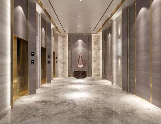 电梯间, 摆件, 装饰品, 陈设品, 现代