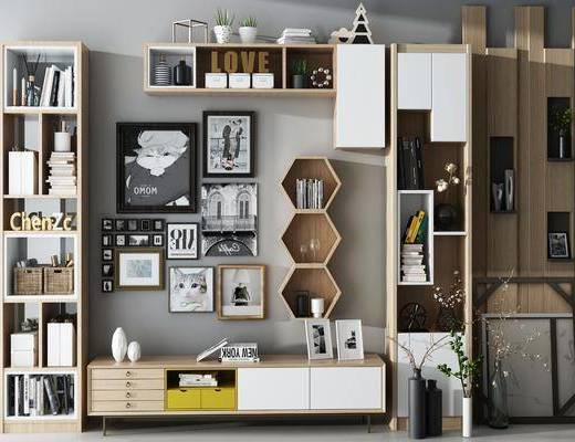 北欧书柜电视柜组合, 北欧, 书柜, 电视柜, 花瓶